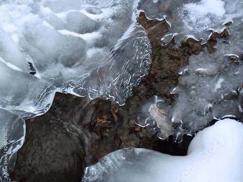 """""""winter"""": icy mountain creek formations,  poconos"""