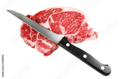 raw steak and knife