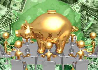 Giant Piggy Bank Savings Banking Investment Meeting Concept