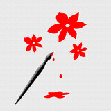 paintbrush  and  red flowers art poster