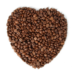 the fried grains of coffee in the form of heart