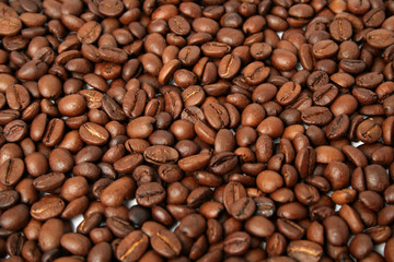 background made of the fried grains of coffee