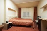 bedroom in red tones poster