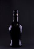 liqueur bottle contours on black poster