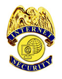 internet secuirty blue and gold badge poster