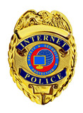 internet police badge blue and red poster
