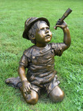 child with telescope statue poster