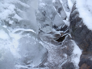 """""""winter"""": icy forms with hole in frozen creek, poconos"""