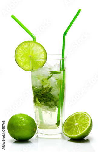mojito cocktail isolated on white background
