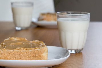 children's snack for two: peanut butter & milk