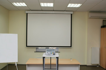 projection screen in the boardroom with projector