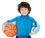Fototapety adorable child playing the basketball