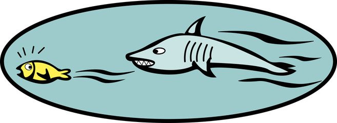 fish escaping from a shark