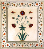 india, delhi: detail of carved marble in red fort poster