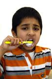 kid brushing his teeth poster