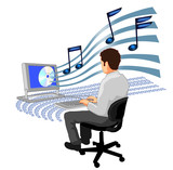 man typing computer with mp3 music poster