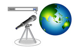 search bar with telescope and globe poster