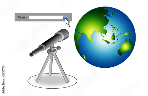 search bar with telescope and globe