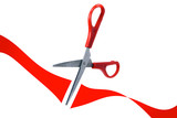 scissors cut red ribbon in grand opening poster