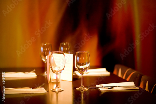 restaurant table for four with flame background