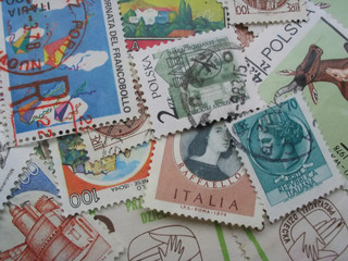 stamps in disarray - macro