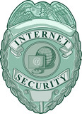 internet security badge woodcut style poster