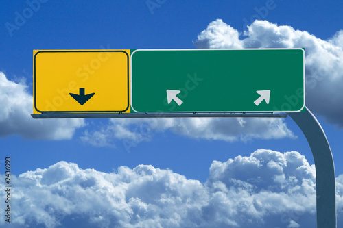 blank freeway sign in blue cloudy skies