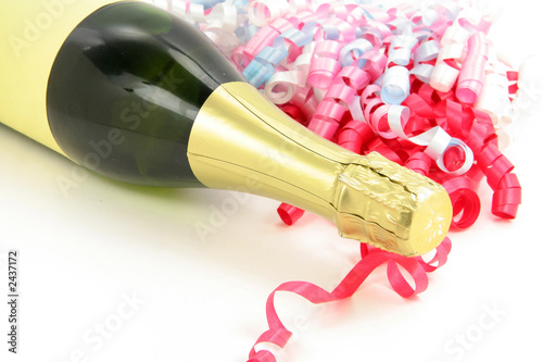champagne bottle and ribbon