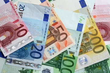 colorful euro banknotes, close-up