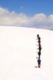 gruppe auf dem gletscher