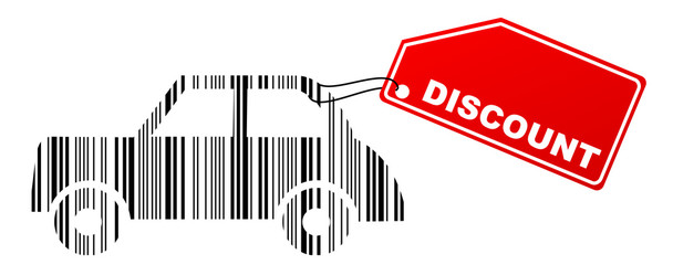 barcode car with discount label