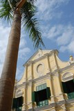 catholic church with coconut palm tree in front poster
