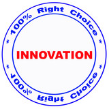 stamp with -innovation- word poster