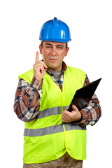 construction worker with the finger up