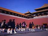 schoolgirls visiting the forbidden city beijing poster
