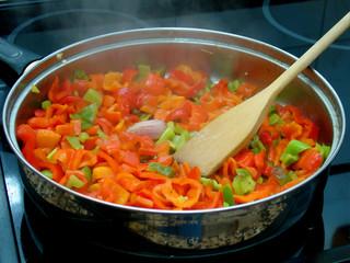 tomates y pimiento fritos