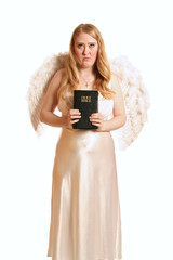 goddess angel holding bible