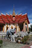 elephant statues at wat chalong, phuket, thailand poster