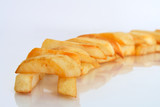 composition of golden oven baked chips close-up poster