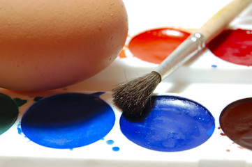 egg and easter paint, macro