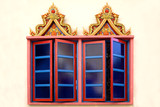 windows of a thai buddhist temple poster