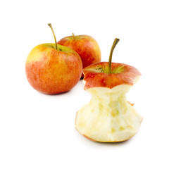 stripped apples on white background