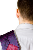 tired businessman with tie on his shoulder poster