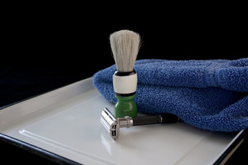 vintage razor and shaving brush