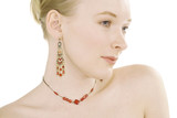 red jewellery portrait poster