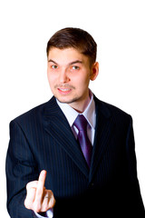rough businessman showing his middle finger