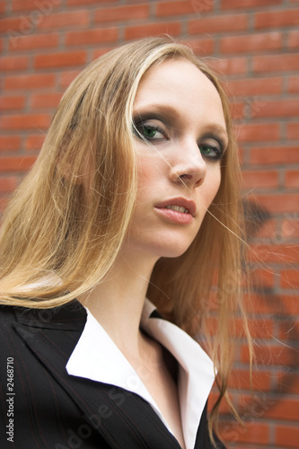 pretty blonde girl in a formal dress