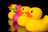 dare to be different - rubber ducks on black poster