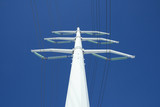 white electricity pylon and the blue sky poster