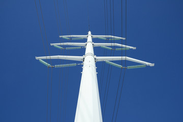 white electricity pylon and the blue sky